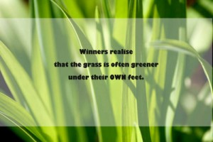 Winners realise that the grass is often greener under their OWN feet. Quote from Graham
