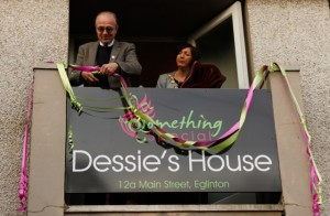 Cutting the ribbon on Dessie's House